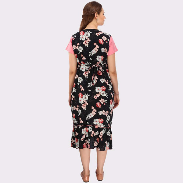 Cute Pink & Black Floral Print Maternity Dress