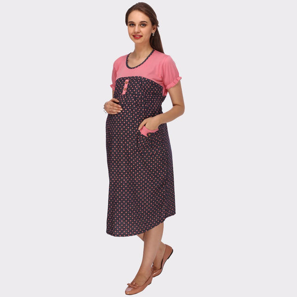 Denim Black & Pink Printed Maternity Dress