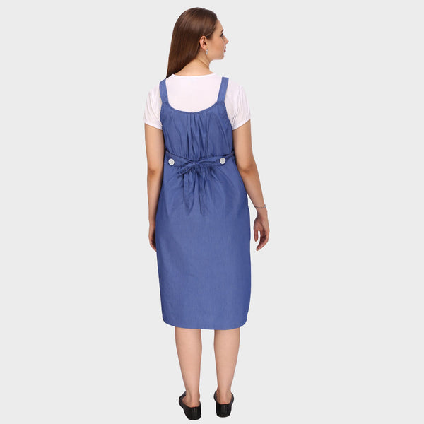 Simple Blue & White Solid Maternity Dress