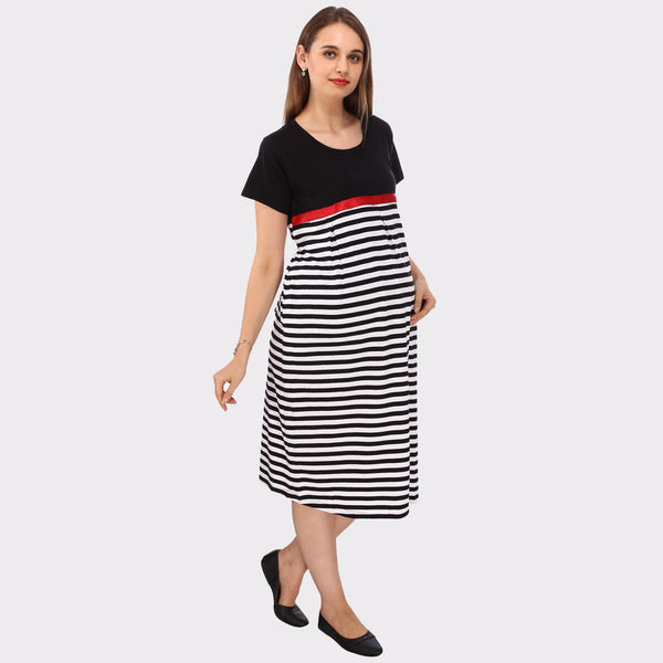White & Jet Black Stripes Maternity Dress
