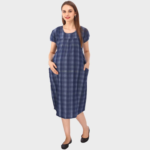 Mix Blue Checkered Maternity Dress