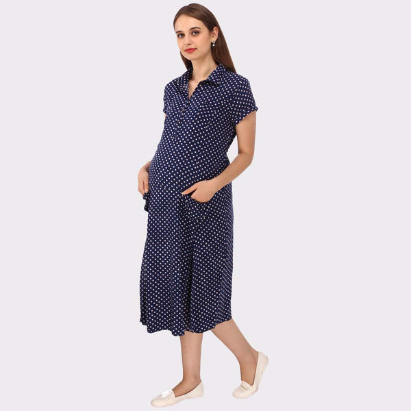 Midnight Blue Polka Print Maternity Dress