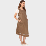 Beige Solid Maternity Dress