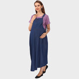 Denim Blue & Pink Striped Maternity Dress