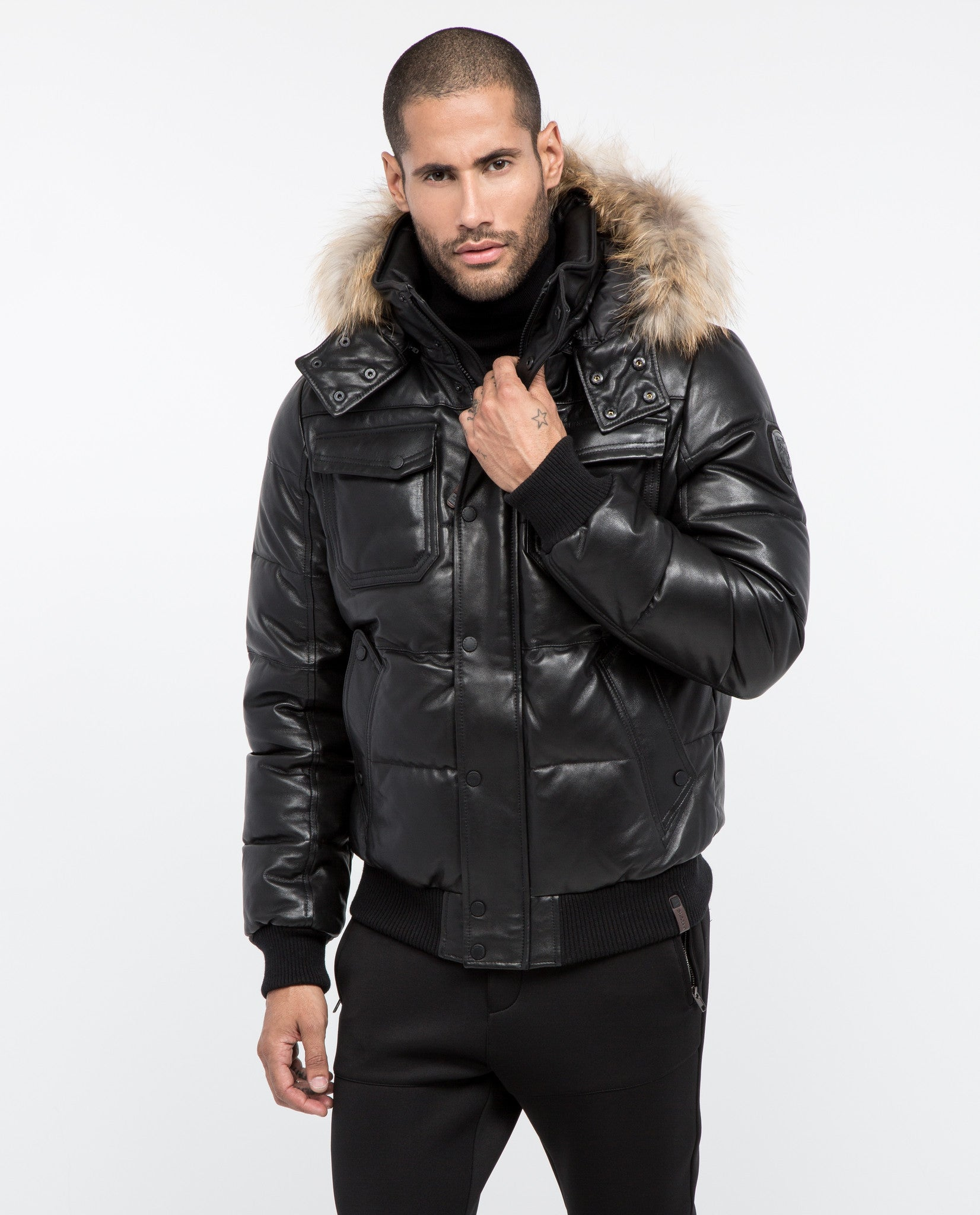 Viper Leather Bomber Jacket With Fur Trim