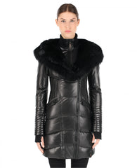 Sia Leather Down Coat With Fur Trim | Rudsak | Coat
