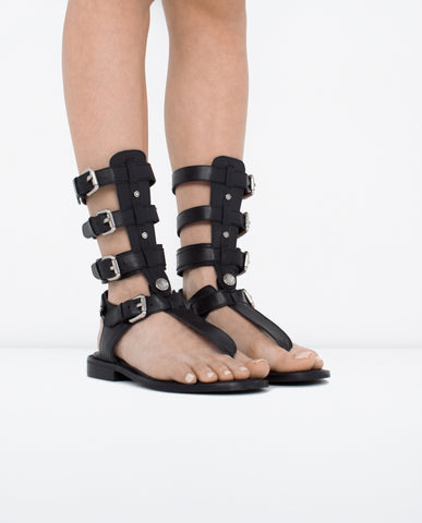 Renews Leather Gladiator Sandal - Dejavu NYC