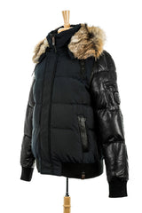 Bale Leather Sleeved Bomber Jacket With Fur Hood - Dejavu NYC