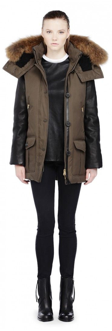 Cynthia Leather Sleeved Down Parka
