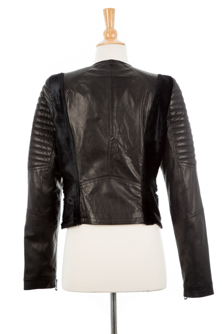 Riva Leather Biker Jacket With Pony Hair