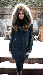Anouk Leather Sleeved Down Parka