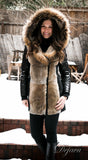 Arly Leather Sleeved Parka With Fur Trim - Dejavu NYC