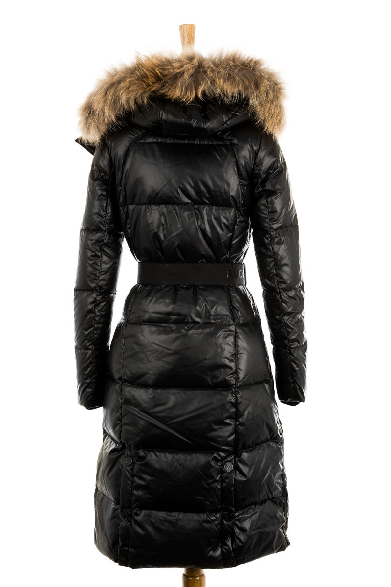 Colima Hooded Down Jacket With Fur Trim