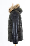 Calcot Leather Sleeved Jacket With Fur Hood - Dejavu NYC