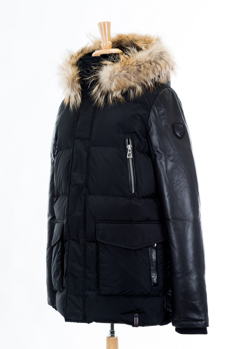 Calcot Leather Sleeved Jacket With Fur Hood