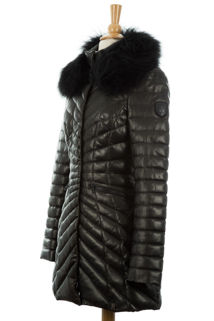 Iris Quilted Leather Puffer Coat