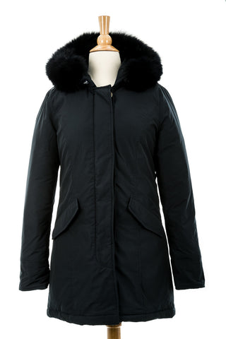 Sia Leather Down Coat With Fur Trim