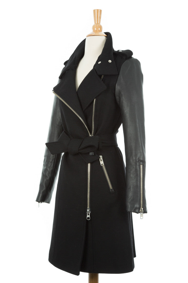 Dale Asymmetrical Wool Trench Coat With Leather Sleeves