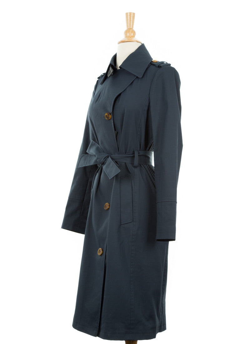 Lane Coated Stretch-Cotton Trench