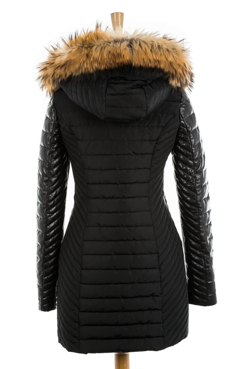 Connington Leather Sleeved Jacket with Fur Trim