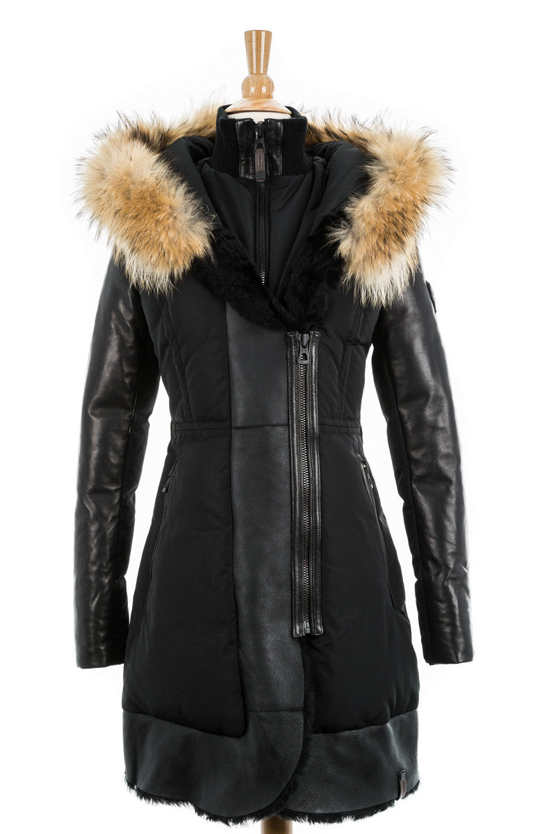 Colatina Leather Sleeved Parka With Fur Trim