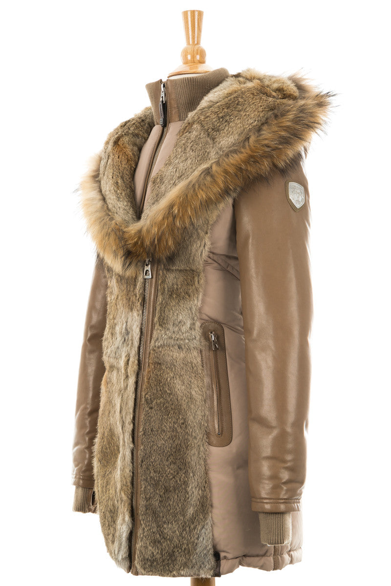 Arly Leather Sleeved Parka With Fur Trim