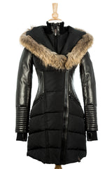 Shauna Leather Down Coat With Fur Trim - Dejavu NYC