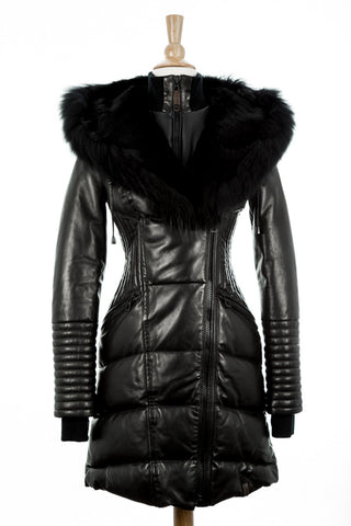 Sia Leather Down Coat With Fur Trim - Dejavu NYC