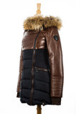 Silvia Down Leather Jacket With Fur Trim - Dejavu NYC