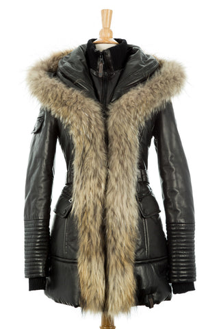 Bale Leather Sleeved Bomber Jacket With Fur Hood