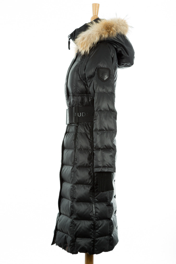 Genie Hooded Down Coat With Fur Trim