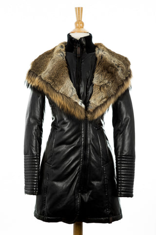 Adelyna Leather Coat With Fur Trim - Dejavu NYC