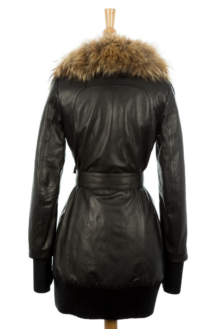 Anahita Leather Coat With Fur Trim