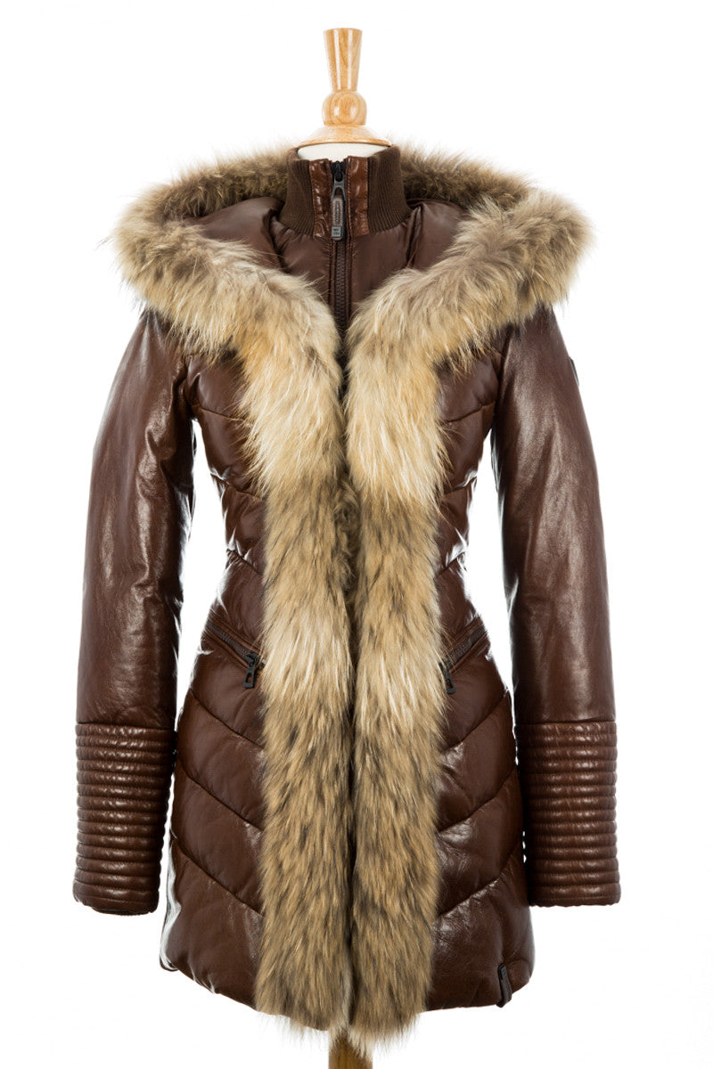 Andrea Leather Coat With Fur Trim