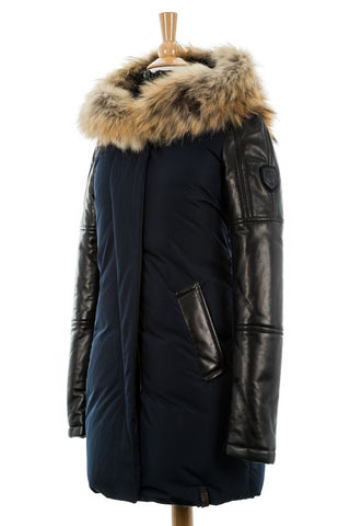 Anouk Leather Sleeved Down Parka - Dejavu NYC