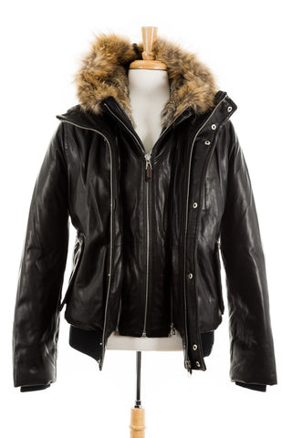 Crawley Leather Jacket With Fur Hood - Dejavu NYC