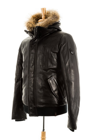 Stephan Leather Sleeved Bomber Jacket With Fur Trim