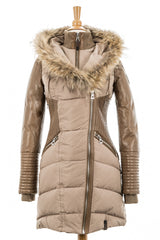 Shauna Leather Down Coat With Fur Trim
