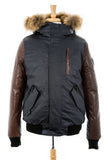 Stephan Leather Sleeved Bomber Jacket With Fur Trim - Dejavu NYC