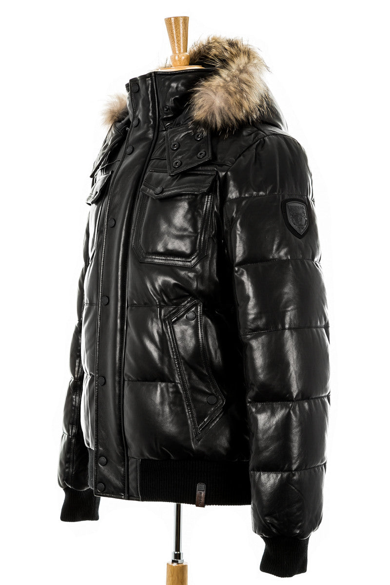 13f4d7cfa0 Viper Leather Bomber Jacket With Fur Trim