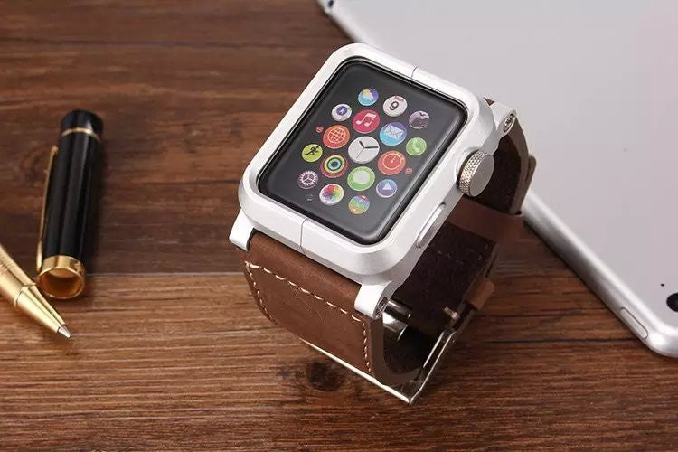Aluminum Apple Watch Case with Leather Strap