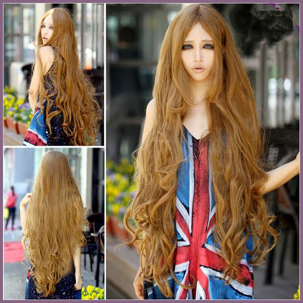 100 Cm Sexy Curly Wigs Long Bangs Blonde - Feedfend - fistcase