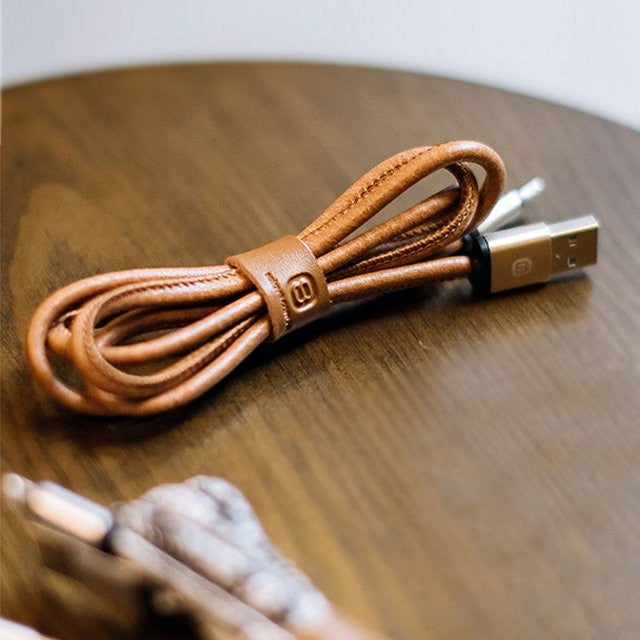 Leather Lightning Cable - Feedfend