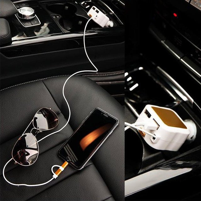 Retractable 2 in 1 Car Charger