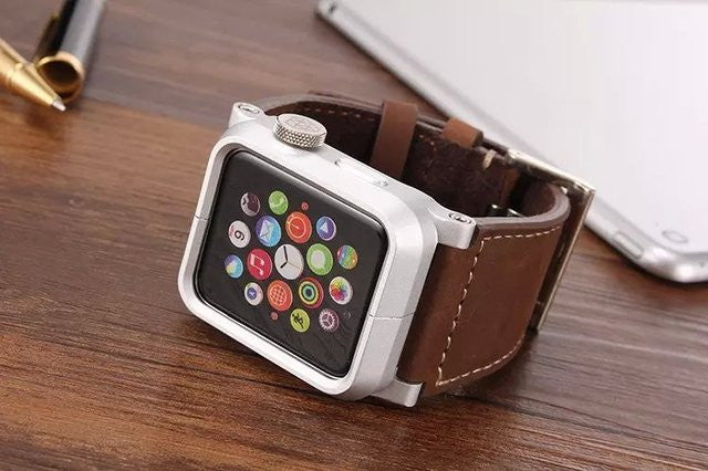 Aluminum Apple Watch Case with Leather Strap - Feedfend