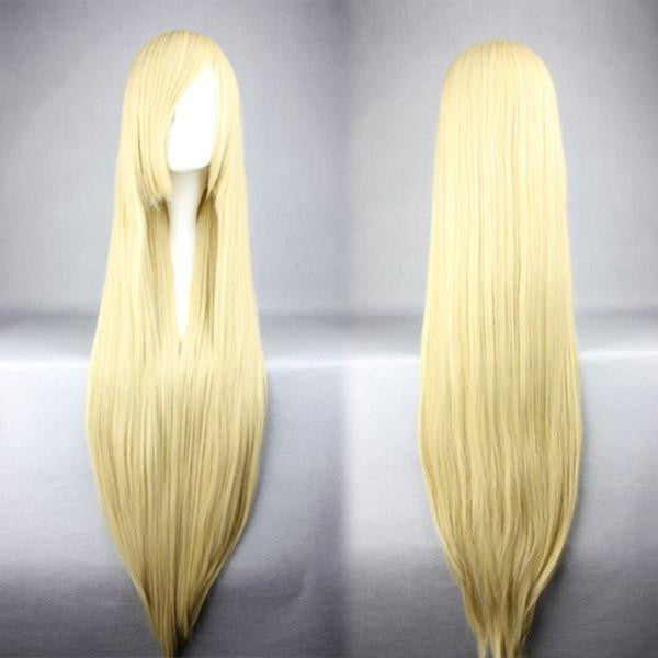 100cm Long Umineko no Naku Koro ni-Thank silk tower blonde Cosplay anime Wig,Colorful Candy Colored synthetic Hair Extension Hair piece 1pcs WIG-018J