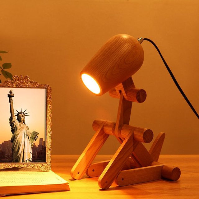 Dog Shaped Wood Lamp