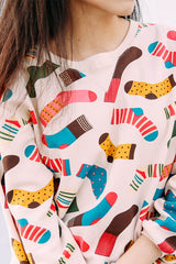 Ladies loose size cartoon color socks neck long sleeved Pullover Sweater