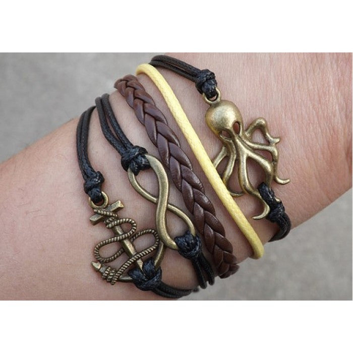 Octopus bracelet,infinity bracelet,anchor Bracelet,Couples bracelet,black bracelet,lover bracelet,leather bracelet,hipsters jewelry,braided bracelet,fashion simple bracelet - Feedfend - fistcase