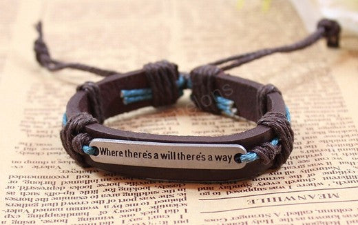 where there's a will there's a way Fashion Unisex Leather Constellation Bracelets Jewelry High Quality Bracelets for Men Women simple bracelet - Feedfend